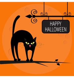 Cat arch back on tree branch Happy Halloween vector