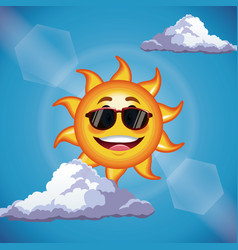 Character sun sunglasses cute face - cartoon in vector