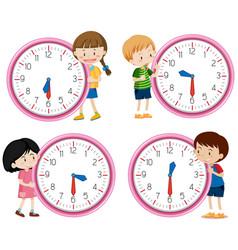 Children holding clock on white background vector