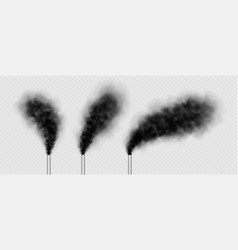 chimneys with black smoke industrial factory vector image