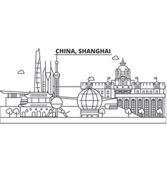 China shanghai architecture line skyline vector