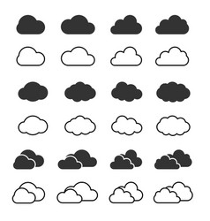 cloud icon and shapes set clouds silhouette vector image