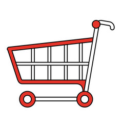 Color silhouette image cartoon shopping cart vector