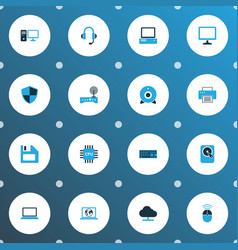 computer icons colored set with online cloud pc vector image