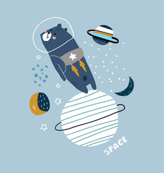 creative space concept with cute bear in reactive vector image