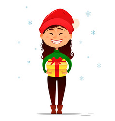 cute smiling girl in christmas hat holding gift vector image