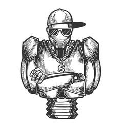 Cyborg robot rapper sketch engraving vector