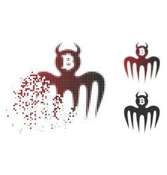 Damaged pixelated halftone bitcoin spectre devil vector