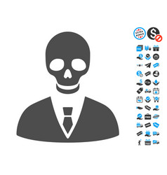 Deadly manager flat icon with free bonus elements vector