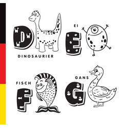 deutsch alphabet dinosaur egg fish goose vector image