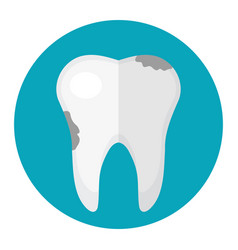 Dirty tooth caries icon flat style dentistry vector