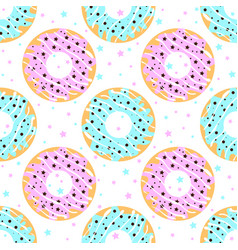 Donuts with blue and pink icing vector
