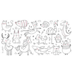 doodle animals sketch animal hand drawn vector image