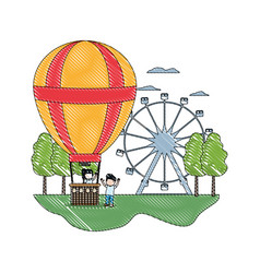 Doodle funny air balloon entertainment with vector