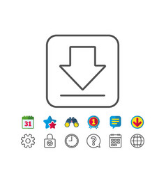 Download line icon internet downloading sign vector