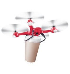 drone coffee cup delivery realistic creative 3d vector image