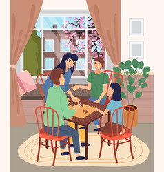 family spend time together at home people vector image