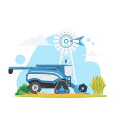 Farm harvester combine on village countryside vector