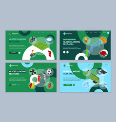 football or soccer game landing web page template vector image