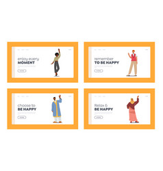 Friendly people landing page template set vector