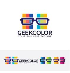 geek color logo design vector image