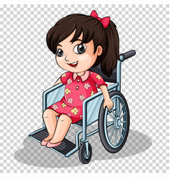 girl on wheelchair on transparent background vector image