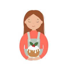 girl with a christmas cake vector image