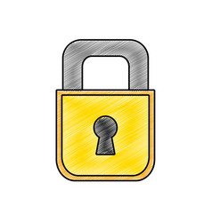 Grated padlock object to security and protection vector