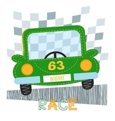 Green car t-shirt design vector