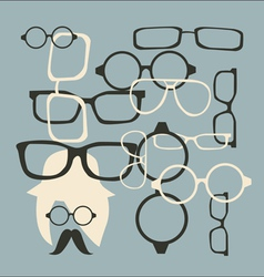 Hat sunglasses and mustache vector