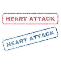 heart attack textile stamps vector image