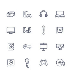 home entertainment system line icons set vector image
