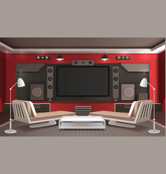 Home theater interior 3d design vector