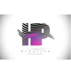 hp h p zebra texture letter logo design vector image