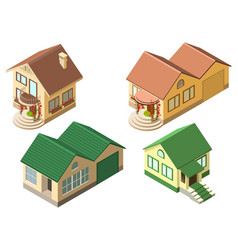 Isometric cottage country house set isolated on vector