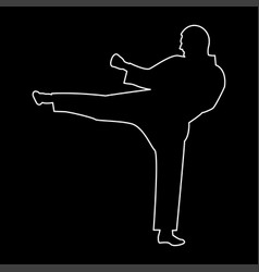Karate man the white path icon vector