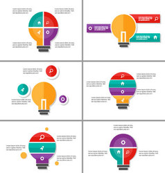 Light bulb Infographic elements presentation set vector