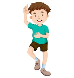 Little boy pointing the finger up vector image