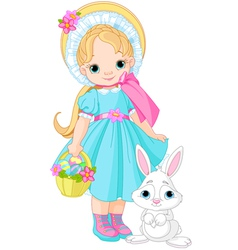 Little girl with easter rabbit vector