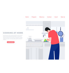 Man prepare meal in kitchen cooking at home vector
