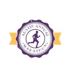 marathon vintage emblem with running man vector image
