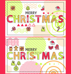 merry christmas linear festive holiday banners set vector image