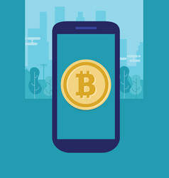 Mobile bitcoin on smart phone modern payment vector