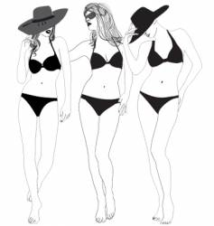Models in bathing suits vector
