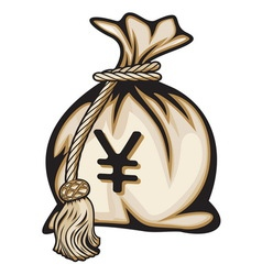 Money bag with yen sign vector