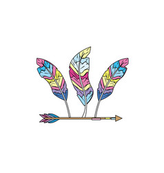 Nice arrow with feather design decoration vector