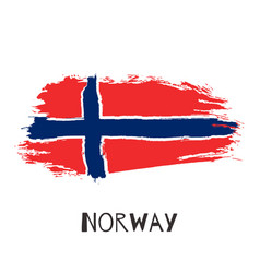 norway watercolor national country flag icon vector image