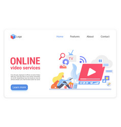 online video service flat landing page vector image
