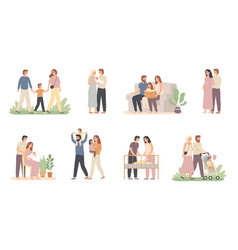 parents and children young family with little vector image