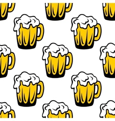 Pint of frothy beer seamless background pattern vector image